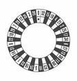 european roulette wheel in monochrome black top vector image
