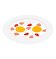 fried egg with ham sausage and tomato on plate vector image