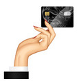 hand of woman holding a credit card vector image vector image