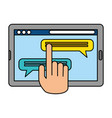 hand using tablet electronic vector image vector image