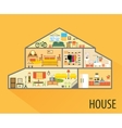 House cartoon interior Rooms with furniture vector image