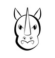 isolated rhino outline icon vector image vector image