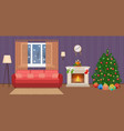 living room christmas decorated interior with vector image vector image