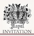 luxury invitation card with crown vector image