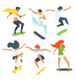 man and woman skaters silhouettes vector image