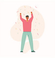 man blowing party horn with raised hands flying vector image