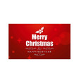 merry christmas greetings card with red background vector image vector image