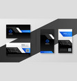 modern black business card with blue shapes vector image vector image