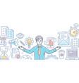multitasking - line design style vector image