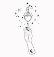 mystical woman hand alchemy esoteric sacred heart vector image vector image