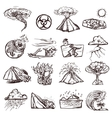Natural Disaster Sketch Icon Set vector image vector image