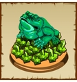 One frog figurine sitting on emerald vector image vector image