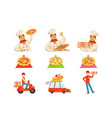 pizza delievery fast service process info vector image vector image