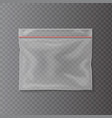plastic transparent pocket bag closing strip vector image