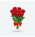 realistic red rose bouquet vector image vector image