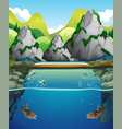 river scene with fish and mountain vector image vector image