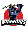 samurai warrior mascot vector image vector image