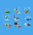 science and technology research equipment set vector image vector image