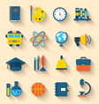 set education flat colorful icons with long vector image
