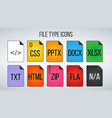 set of file formats icons isolated on white vector image