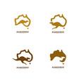 set of kangaroo and australia map logo design vector image