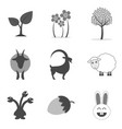 set of nature icons and symbols in trendy flat vector image vector image