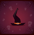 silhouette witch hat and skull happy halloween vector image