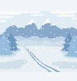 snowy winter mountains landscape with ski track on vector image