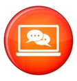 Speech bubbles on laptop screen icon flat style vector image vector image