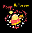 super funny with monster and bats on halloween vector image vector image