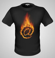 t shirts Black Fire Print man 26 vector image vector image