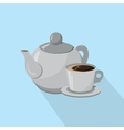 Teapot and Cup of coffee isolated on a white vector image vector image