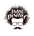 think positive lettering motivating phrase vector image vector image