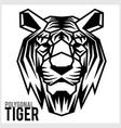 tiger head in polygonal style polygonal animals vector image vector image