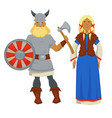 vikings man and woman in traditional clothing and vector image vector image