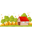 wildfire near living house green trees in hot vector image vector image