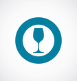 wineglass icon bold blue circle border vector image vector image