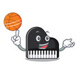 with basketball piano character cartoon style vector image