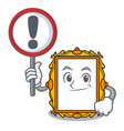 with sign picture frame character cartoon vector image vector image