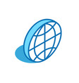 world isometric icon global map globe 3d line vector image