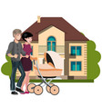 young family outside in front new house vector image vector image