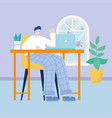 young man working with laptop on desk in room home vector image vector image