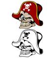 pirate skull in hat vector image
