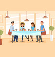 a group students meets in a cafe and drinks vector image