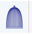 bird cage sign navy line icon on notebook vector image vector image