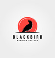 black bird icon logo with red background symbol vector image