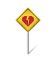 broken heart traffic sign vector image