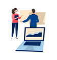 business woman and man working on tables graph on vector image