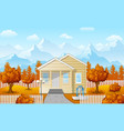 cartoon family house with mountain in fall season vector image