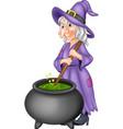 cartoon witch preparing potion vector image vector image